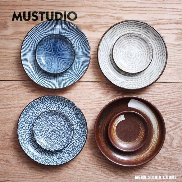 Zakka 雜貨 和風釉下彩餐盤調味小碟子 圓盤子日式陶瓷餐具一組大盤+小碟)