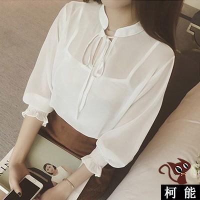 上衣~6871 ~透視綁帶燈籠袖雪紡衫