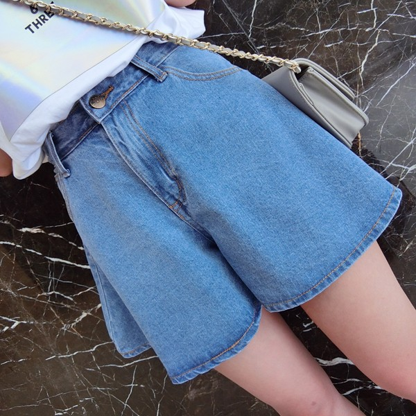 ❤ ❤ 百搭牛仔短褲寬鬆超顯瘦闊腿熱褲高腰