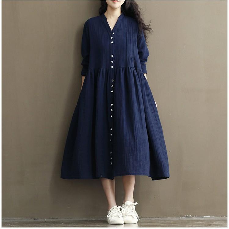 日系麻棉清新感排釦長版連身洋裝