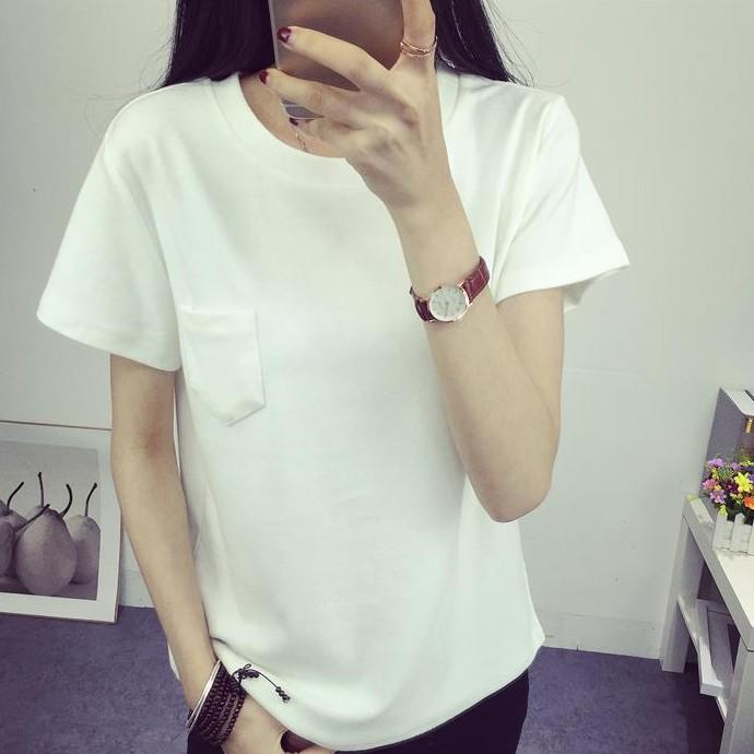 ~ ~▲短袖上衣▲2017 女裝夏裝上衣純色短袖t 恤女學生 口袋打底衫潮韓系學生女生衣著