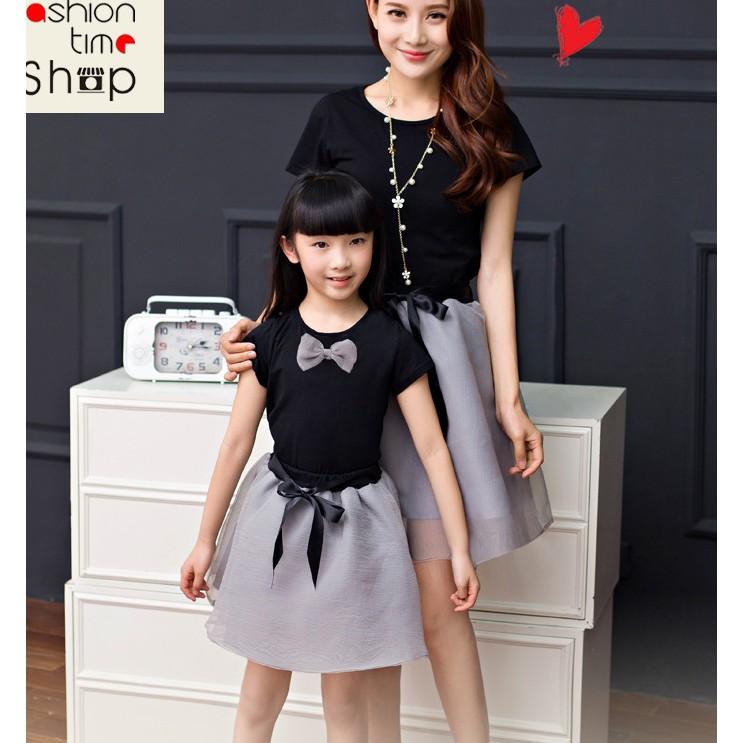 歐根紗 雪紡黑灰母女洋裝親子套裝T 恤欧根纱半身裙短袖