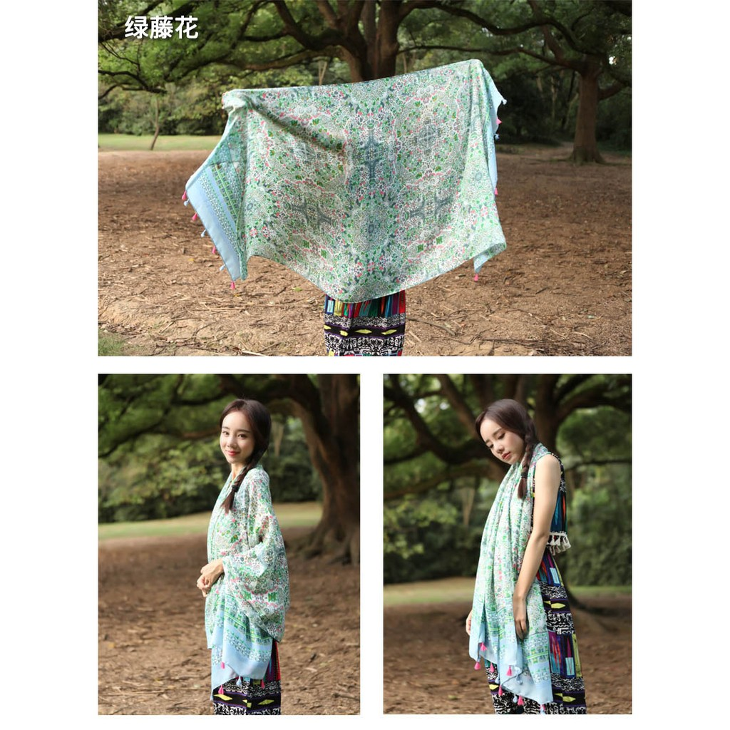 春秋絲巾女士民族風印花流蘇紗巾女 超大披肩圍巾兩用長款百搭