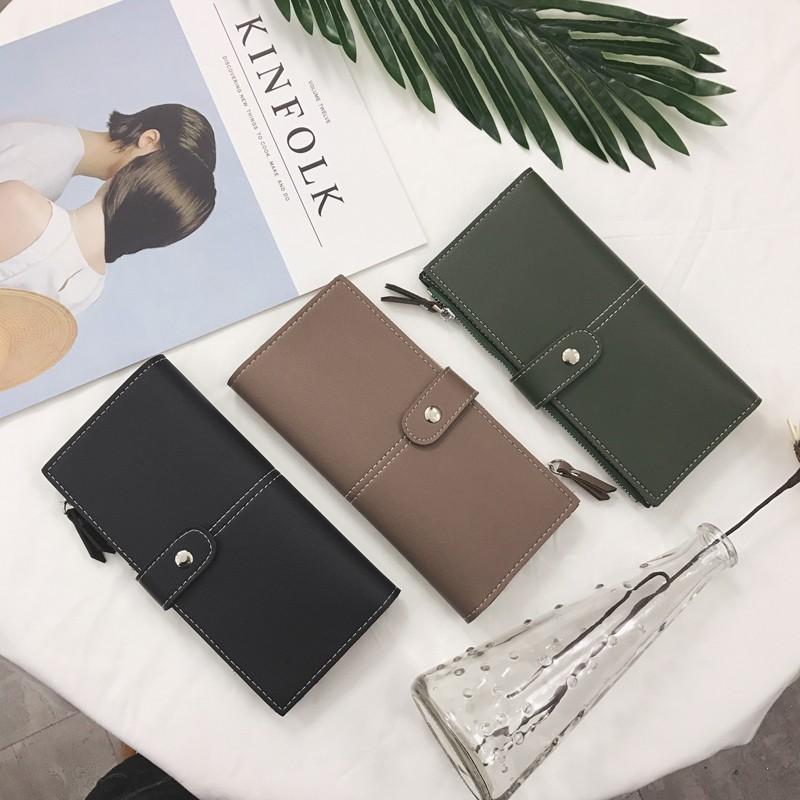 2017 錢包女長款二折疊日韓學生復古 信封簡約搭扣超薄錢夾