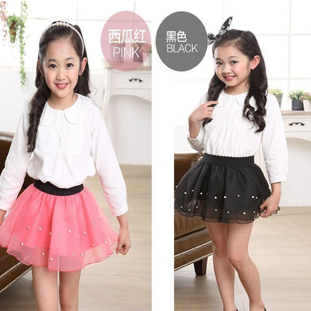 Q 媽珍珠緞面兒童紗裙短裙蛋糕裙樣式 好女童內搭裙
