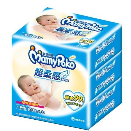 滿意寶寶純水99 超柔感濕毛巾100P 3 包