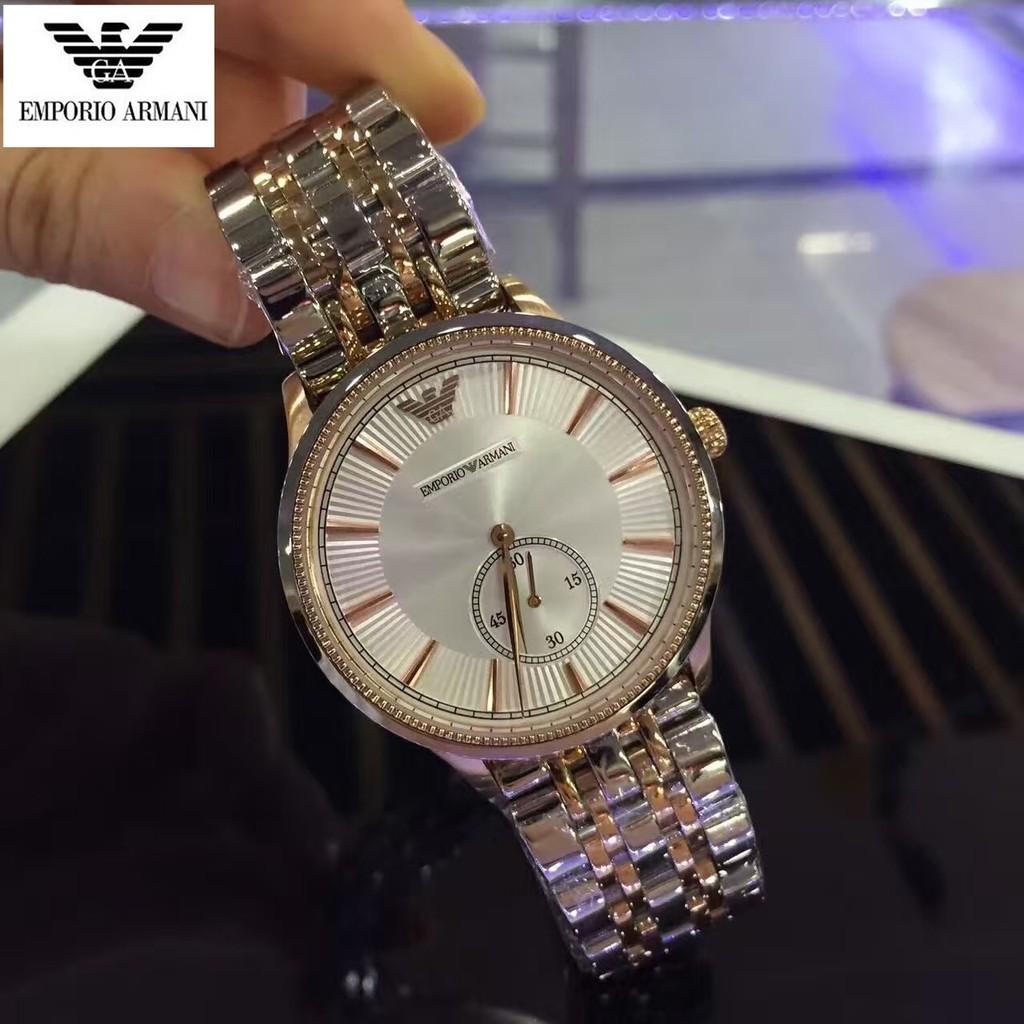 ~小美~ 正品Emporio Armani 阿瑪尼不鏽鋼帶石英男錶防水日曆男士商務休閒腕錶