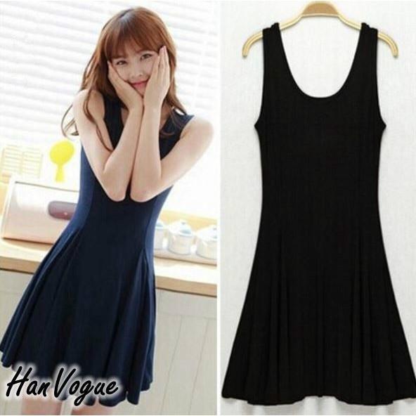 彈性背心連身裙舒適又彈性棉質透氣連身洋裝韓衣風格HV320401