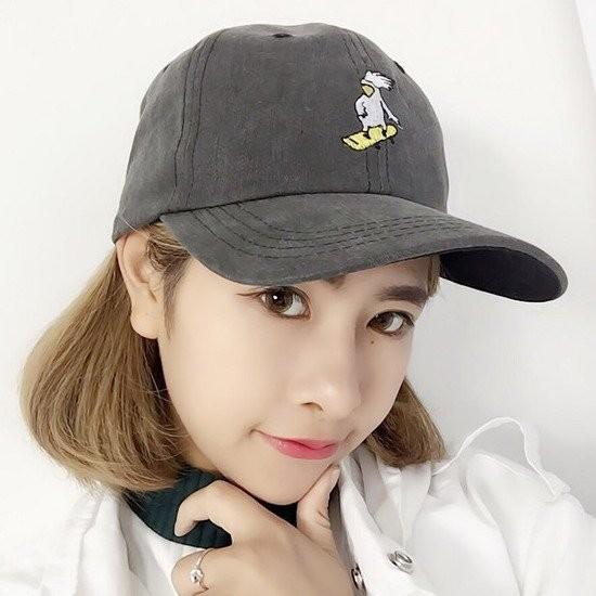韓國 可愛動物刺繡滑板鴨子小雞圖案棒球帽鴨舌帽老帽彎帽子K642