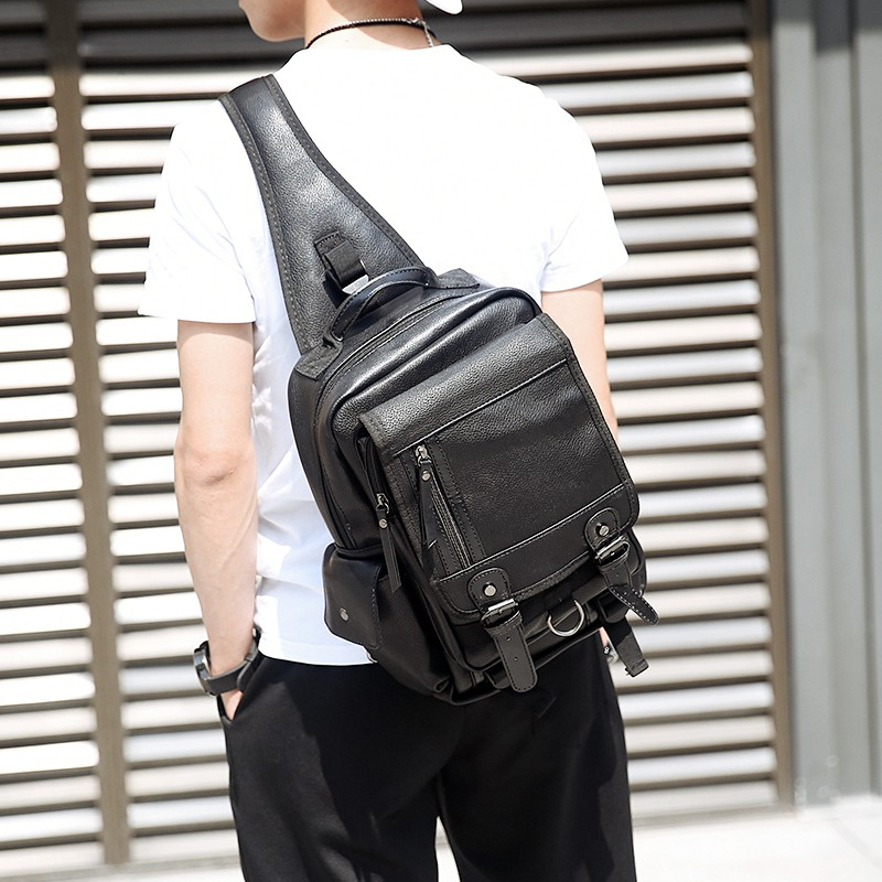 2017  男士胸包潮流復古單肩斜跨包商務休閒iPad 大容量包