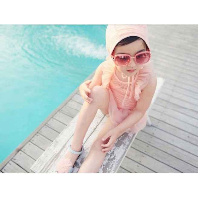 ~二件式~女童泳衣寶寶泳裝兒童防曬粉色泳衣泳帽二件式泳裝套裝兒童連身泳衣戲水溫泉泡湯游泳衣