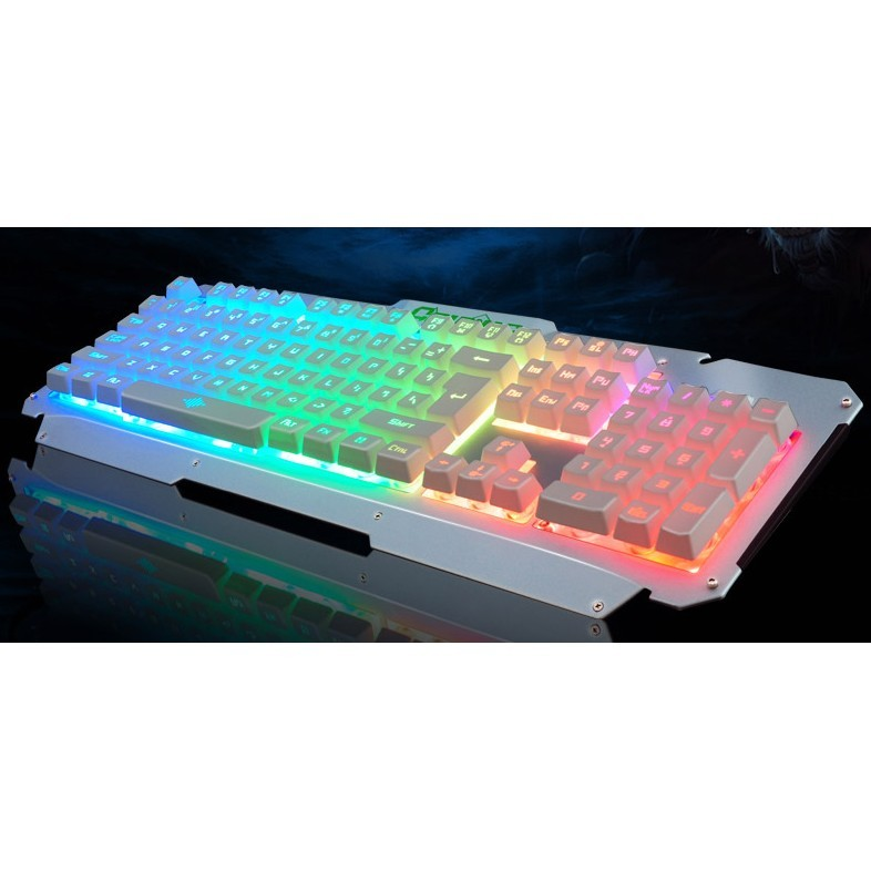 如意鳥魔能七彩背光遊戲金屬usb 有線臺式電腦鍵盤lol 懸浮機械手感