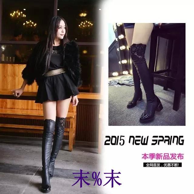 過膝長靴女 瘦腿蕾絲中跟長筒靴圓頭彈力皮靴子女式高筒靴