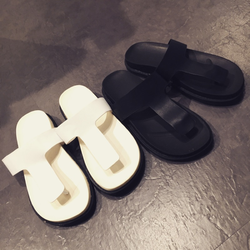 真皮黑色白色夾腳平底厚底拖鞋潮鞋