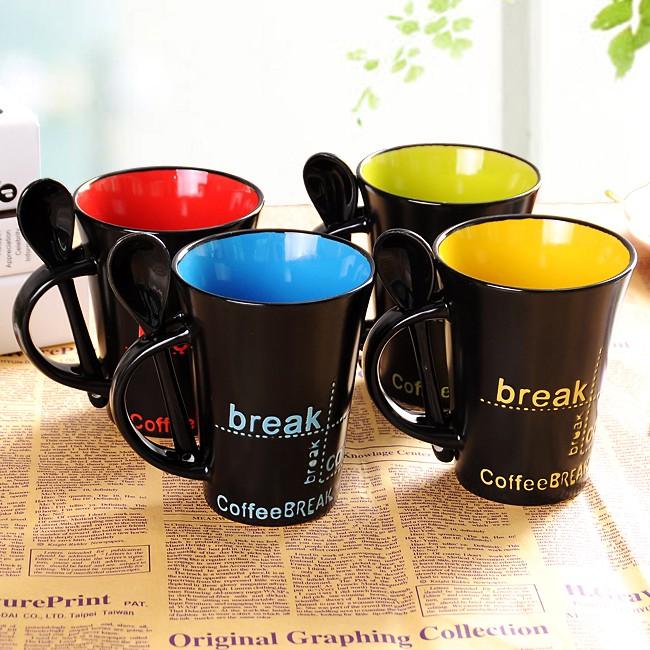 陶瓷杯子帶蓋勺歐式咖啡杯牛奶早餐茶杯馬克杯情侶簡約喝水杯