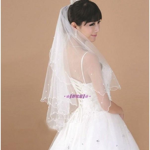 ~~║野玫屋║~~新娘飾品婚紗禮服 攝影舞台配飾單層珍珠頭紗