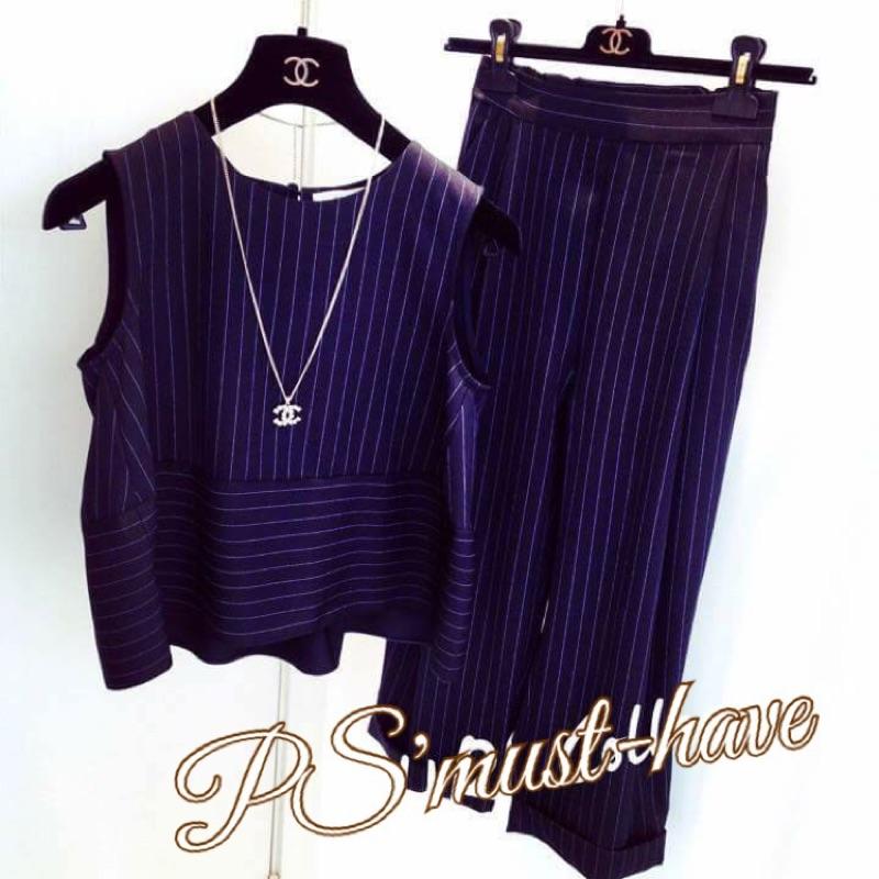 FD25619 款徐小可同款套裝度假風韓妞穿搭簡約條紋背心闊腳褲兩件套套裝2 色