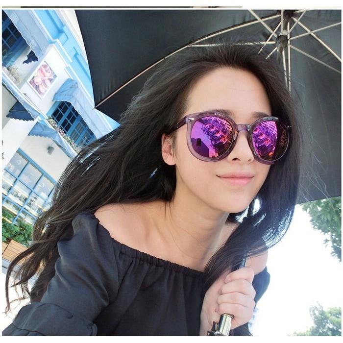 ig003  IMMAX 箭頭裝飾圓框炫彩太陽眼鏡透明彩膜墨鏡大框修大臉女用百搭多色