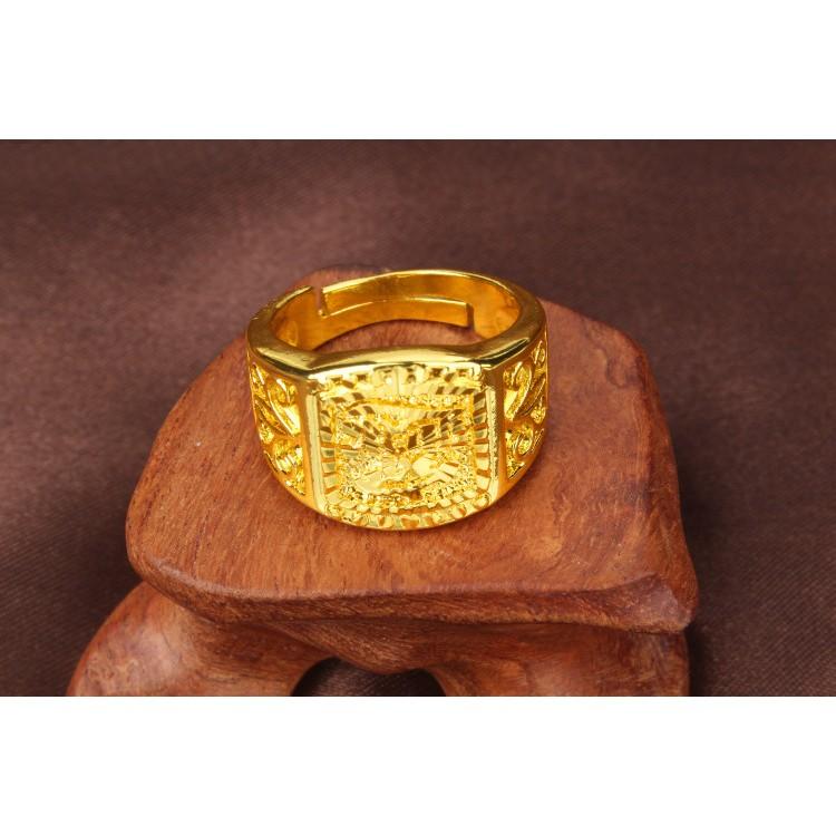 男士鑽面開口戒指鍍金仿金貨號0203
