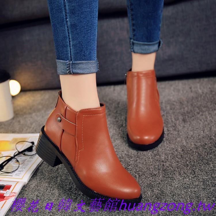 ~櫻花日韓文藝館~粗跟馬丁靴潮女短靴單靴圓頭及踝靴中跟女鞋