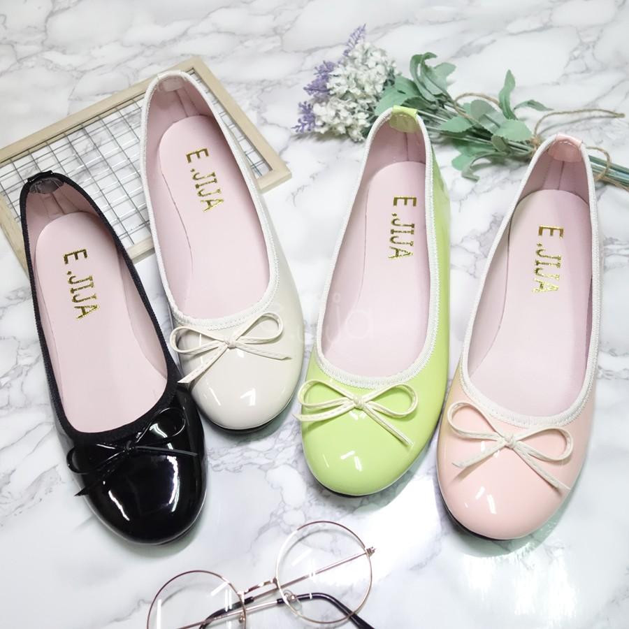 E JIJA 訂製款MIT 糖果色馬卡龍色漆皮亮面蝴蝶結休閒平底娃娃鞋包鞋