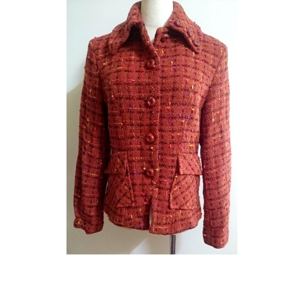長袖復古風格毛料格子格紋領口三扣 典雅氣質外套西裝外套夾克風衣古著短版大衣