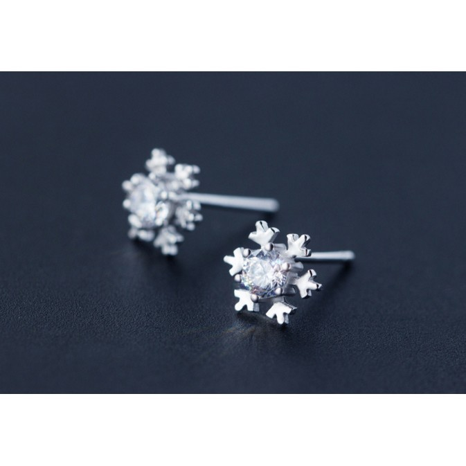 85 °C 銀鋪雪花鑲鑽耳環甜美氣質耳針不過敏925 純銀E74