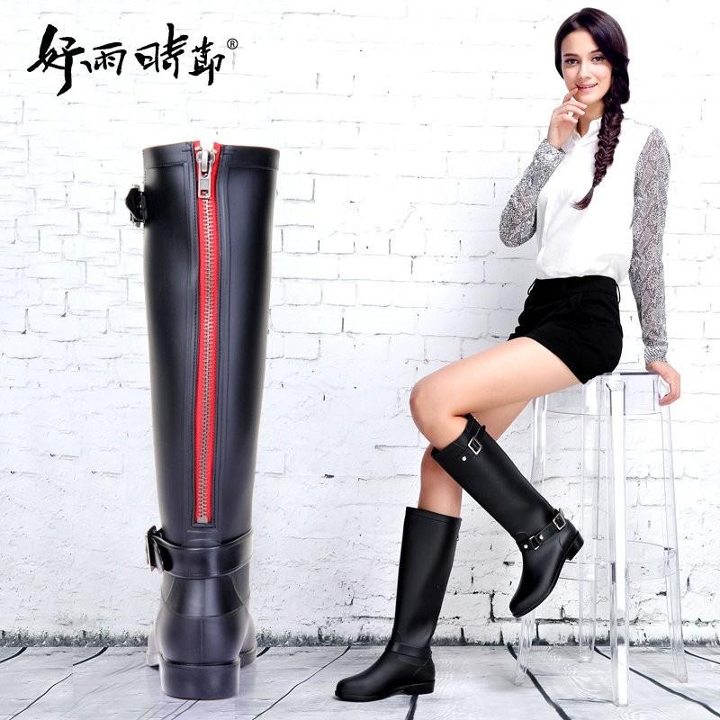 帥氣 女式雨鞋背后紅拉鏈高筒搭扣雨靴雨鞋