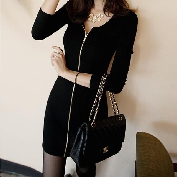 價2016  性感中長款打底衫女 修身顯瘦包臀拉鏈長袖連衣裙A0406