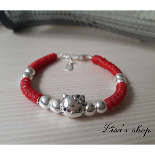 925 純銀手鍊KT 貓蠶絲蠟線純銀手環寶寶滿月彌月 童環