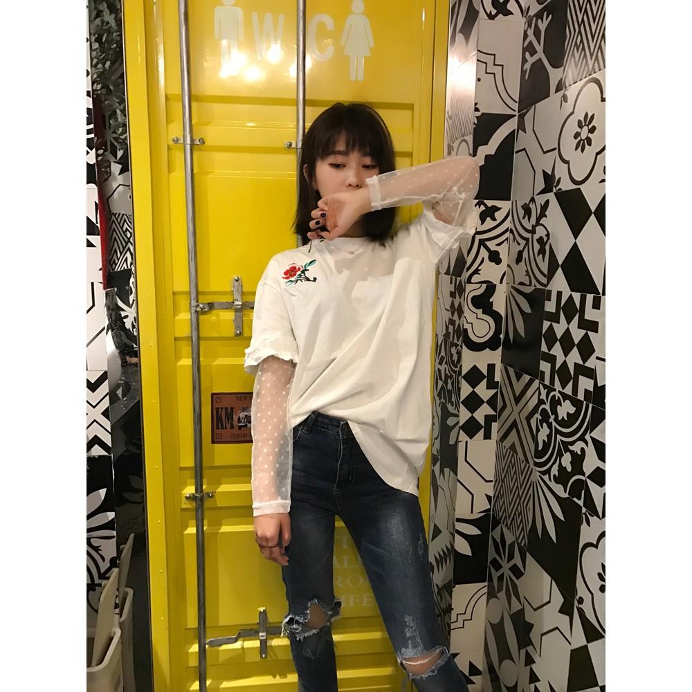 ~ ~實拍韓國春夏 復古玫瑰花朵刺繡長袖T 恤女蕾絲拼接假兩件短袖純棉T 打底上衣