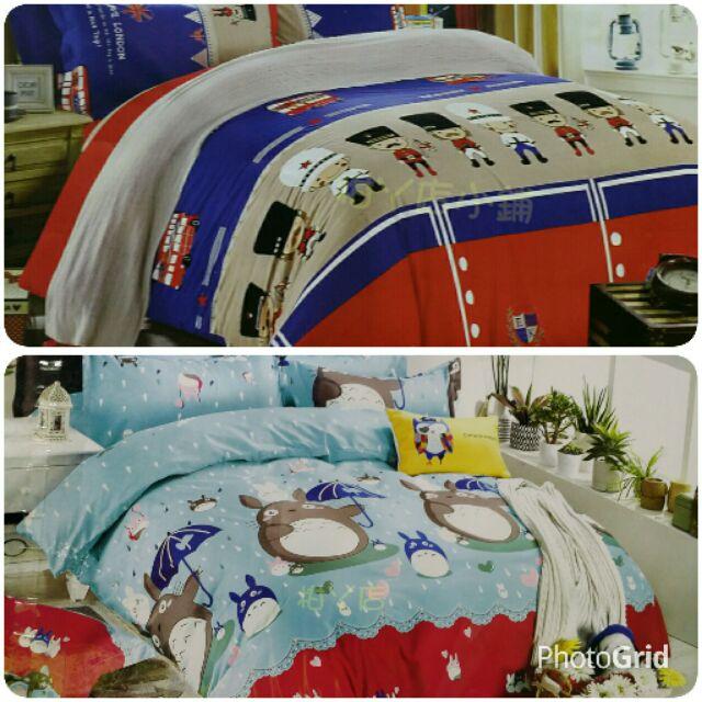 ~柑丫店~特大、雙人加大、雙人、單人床包床包枕頭套卡通床包薄款另售法蘭絨兩用被套、涼被