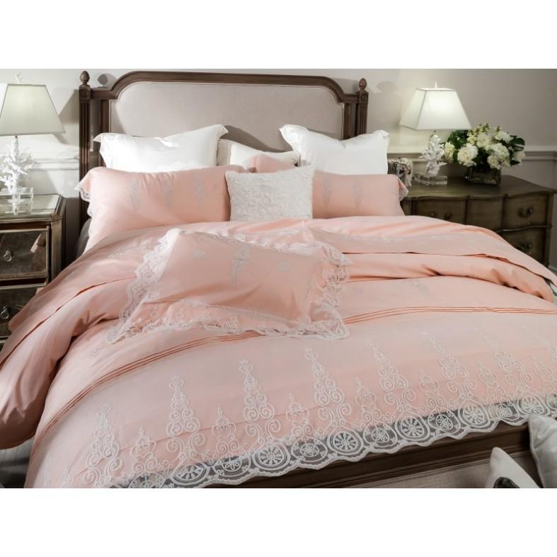 法式風情高端歐式純棉四件套60S 全棉貢緞蕾絲花邊刺繡四件套床品初心