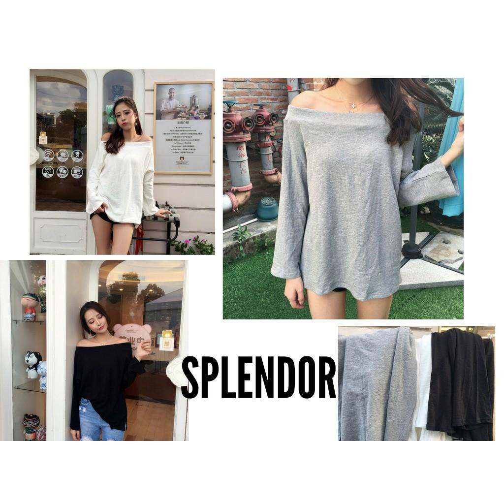 SPLENDOR ☍部分 韓系純色寬鬆舒適一字領上衣特批三色