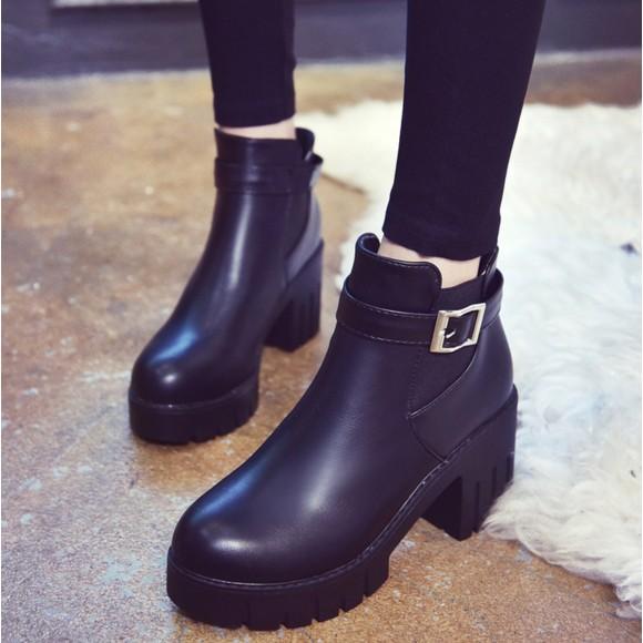馬丁靴英倫風中高跟靴子粗跟馬靴學生冬天鞋子女短靴春秋單靴