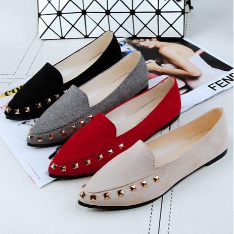 平底平跟鞋小尖頭柳丁單鞋淺口舒適工作女鞋貨到