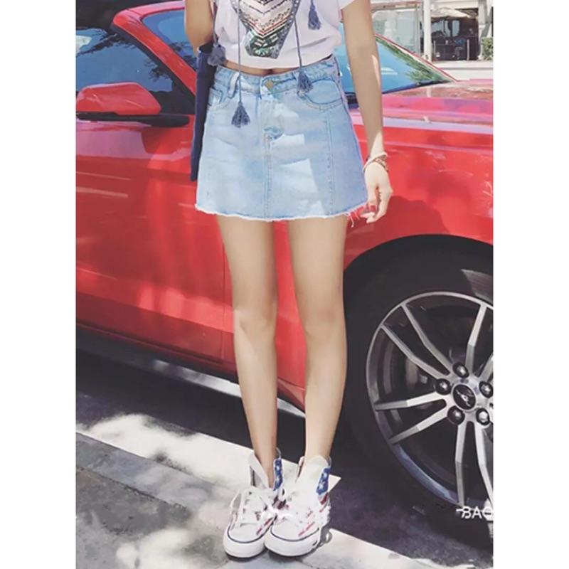 2016 夏裝淺色 純色單寧毛邊半身裙短褲短裙百搭牛仔短裙