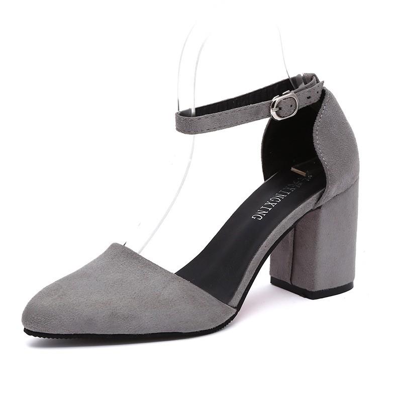尖頭粗跟高跟鞋純色女鞋職業絨面女式高跟鞋