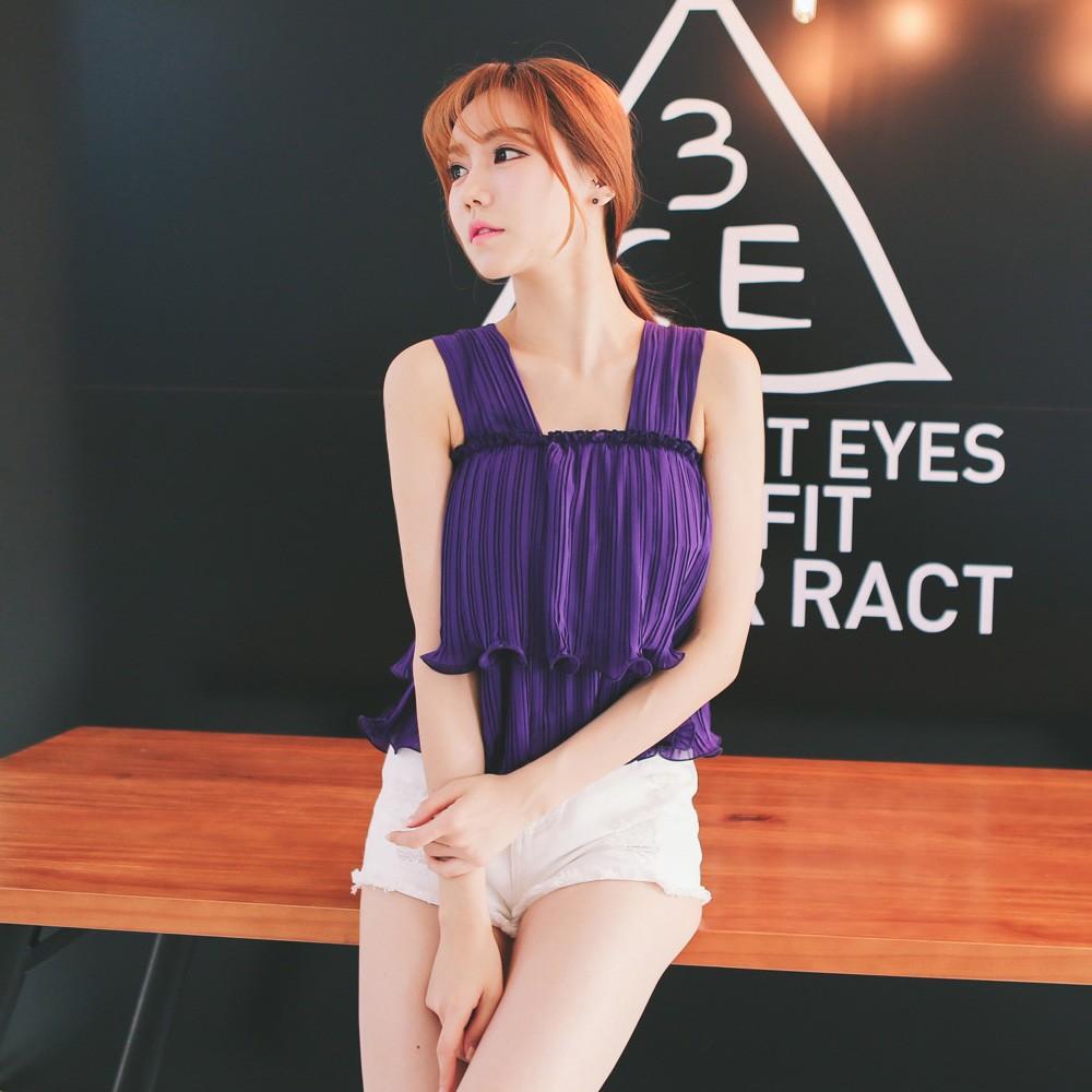 A281 夏韓國速賣通女裝寬鬆上衣雪紡衫吊帶打底衫無袖雪紡背心