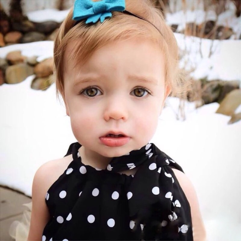 女童女寶兒童嬰兒白色波動圓點撞色蝴蝶結掛脖露肩吊帶背心上衣