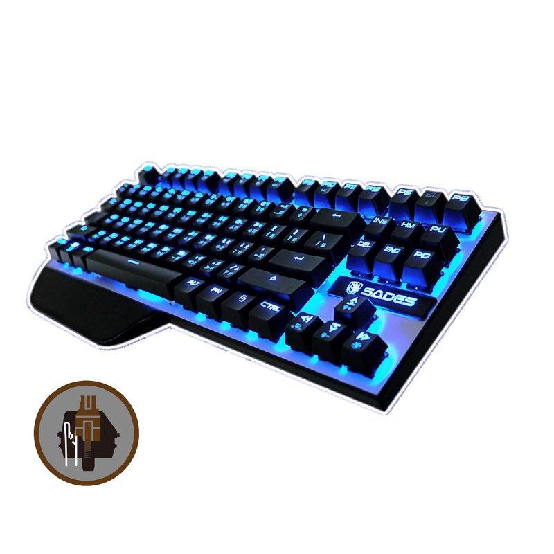 賽德斯SADES 聖誕節跨年檔次KARAMBIT 狼爪刀機械式鍵盤茶~紅~黑軸87KEY