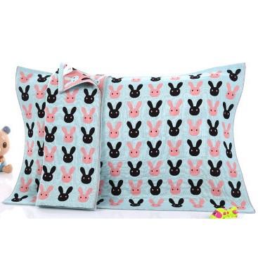 純棉三層紗布枕巾枕頭巾雙面提花透氣不悶熱兔頭藍粉50 75CM