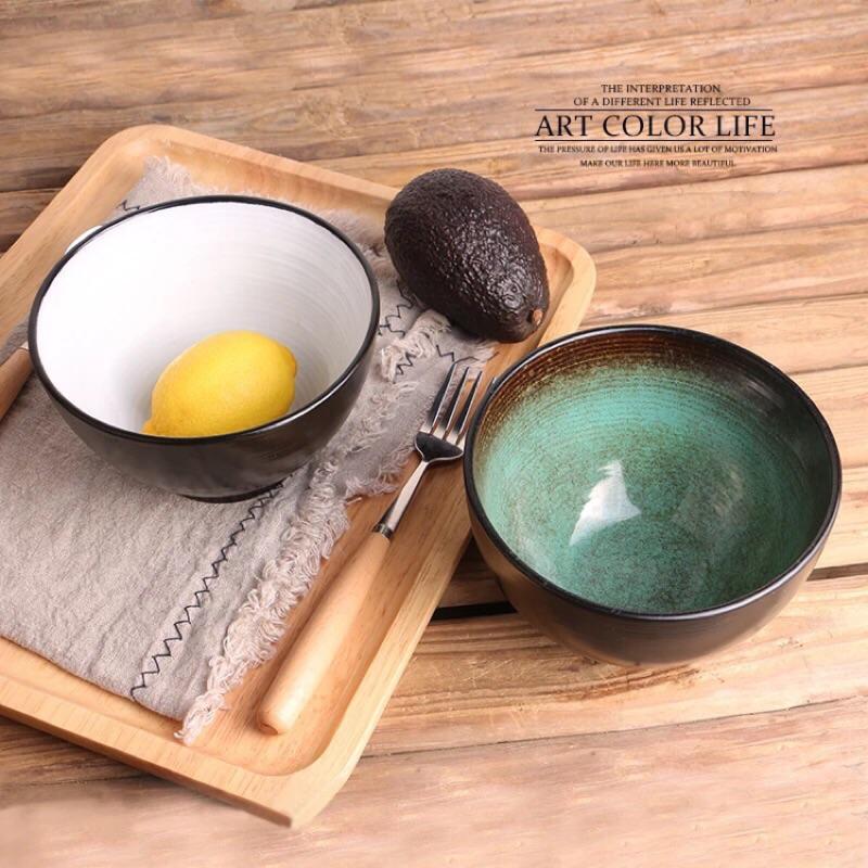 日式窯變釉陶碗螺紋彩繪陶瓷碗飯碗歐式沙拉碗點心碗甜品碗湯碗菜碗