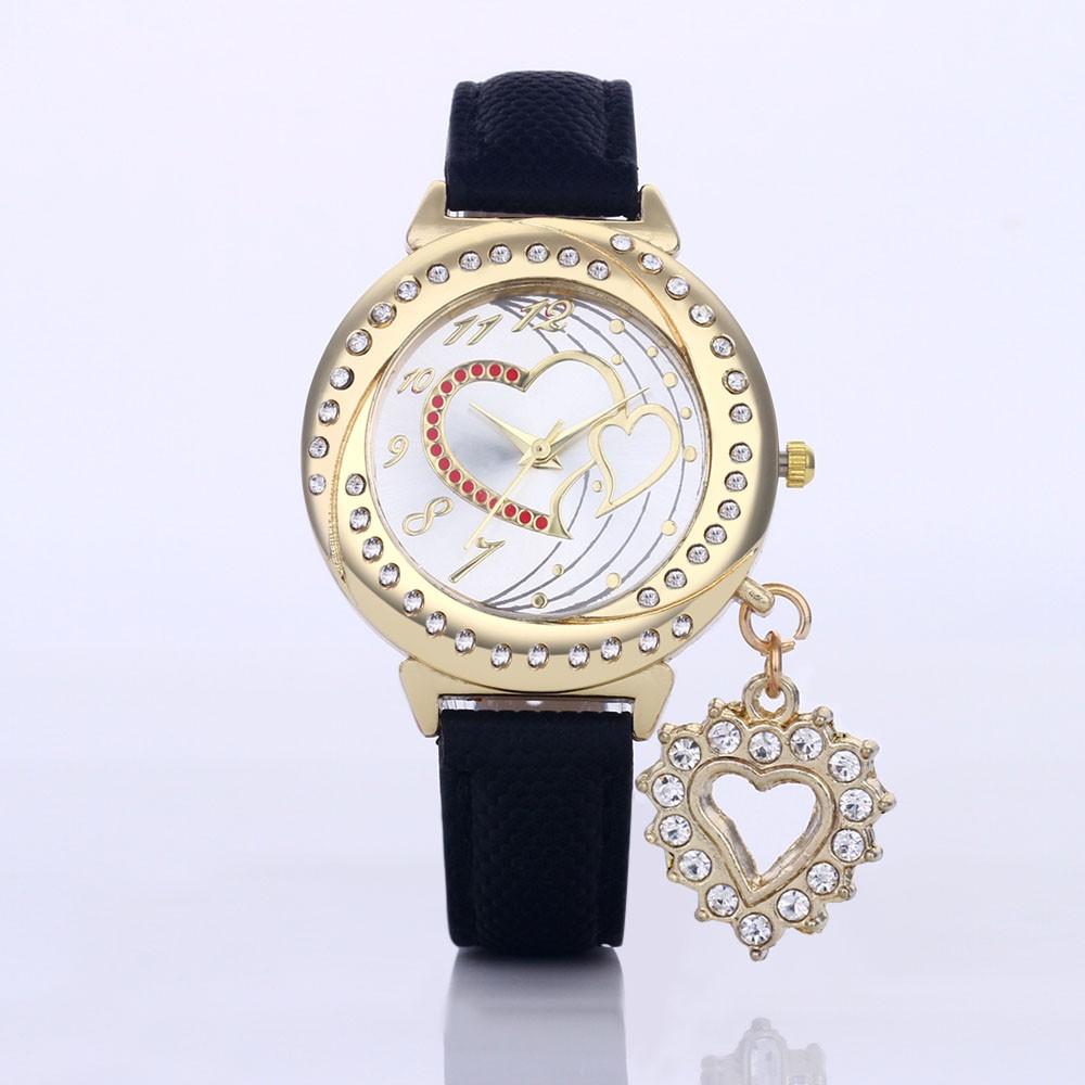 女士鑽石愛心吊墜腕錶皮革錶帶數字錶盤手錶