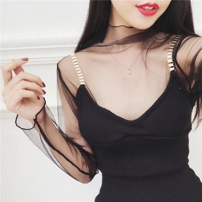 ~透視 ~可 2017 春 韓國透膚網紗內搭打底衣透視裝性感