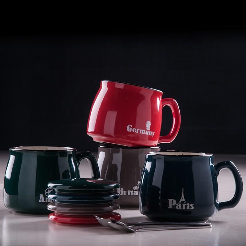 奈斯咖啡杯陶瓷杯帶蓋勺 馬克杯早餐杯辦公室情侶水杯牛奶杯