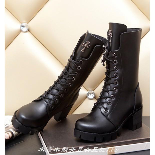 zara 款 英倫龐克風金屬十字架拉鏈中筒靴繫帶綁帶真皮軍靴復古圓頭馬丁靴粗跟中跟高跟短靴