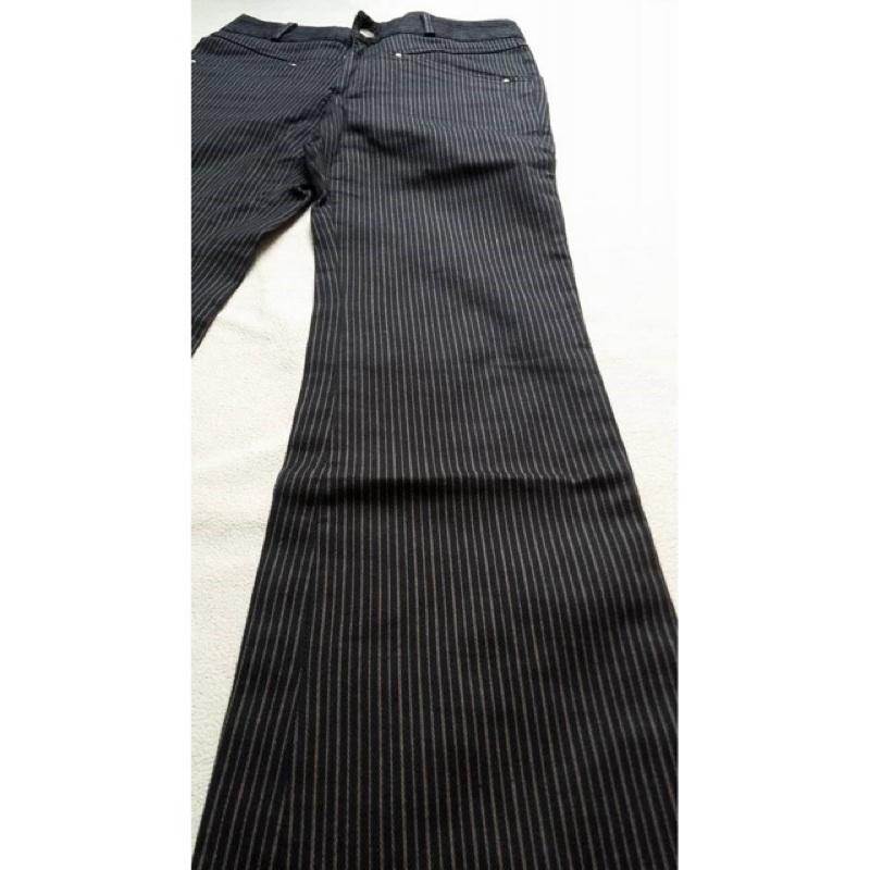 黑咖啡條紋長褲喇叭褲M 極新