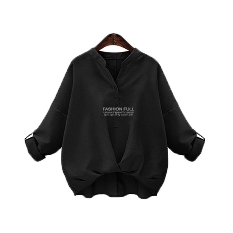 女士 純色棉亞麻襯衫長袖襯衫黑色