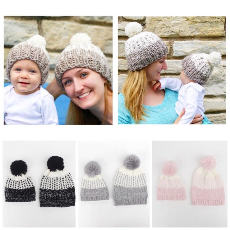親子帽寶寶媽咪毛線帽毛球新品 保暖帽媽媽寶寶帽雙色可愛毛球 款大人款媽媽爸爸寶寶